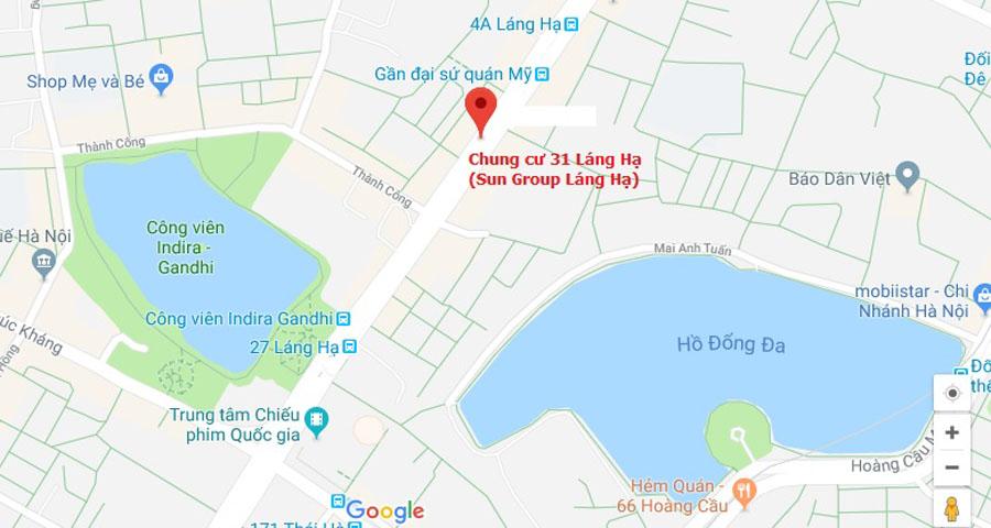 Vị trí Chung cư Sun Group Láng Hạ